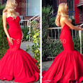 Red Mermaid Vestidos De Gala 2017 Sweetheart Ruffle Robe De Soiree Long Backless Evening Dresses Custom Made Vestido De Festa