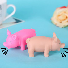 8cm Baby Kids Bath Swimming Grownups Anti Stress Small Mini Animals Pig Model Squeezing Sounding Toys for Children Action Figure(China)