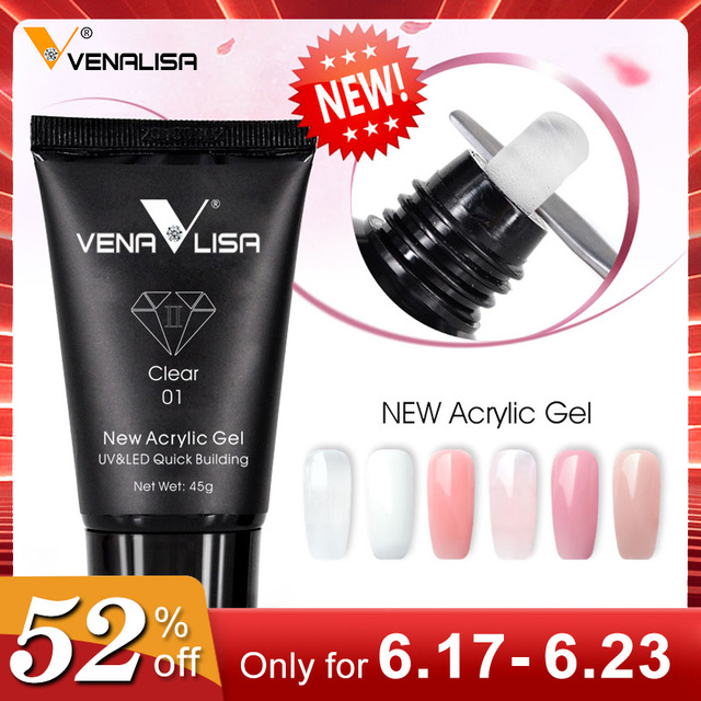 Venalisa 45g capacity nail design poly-nail gel builder acrylic nails transparent crystal coumuflage clear extend jelly poly gel