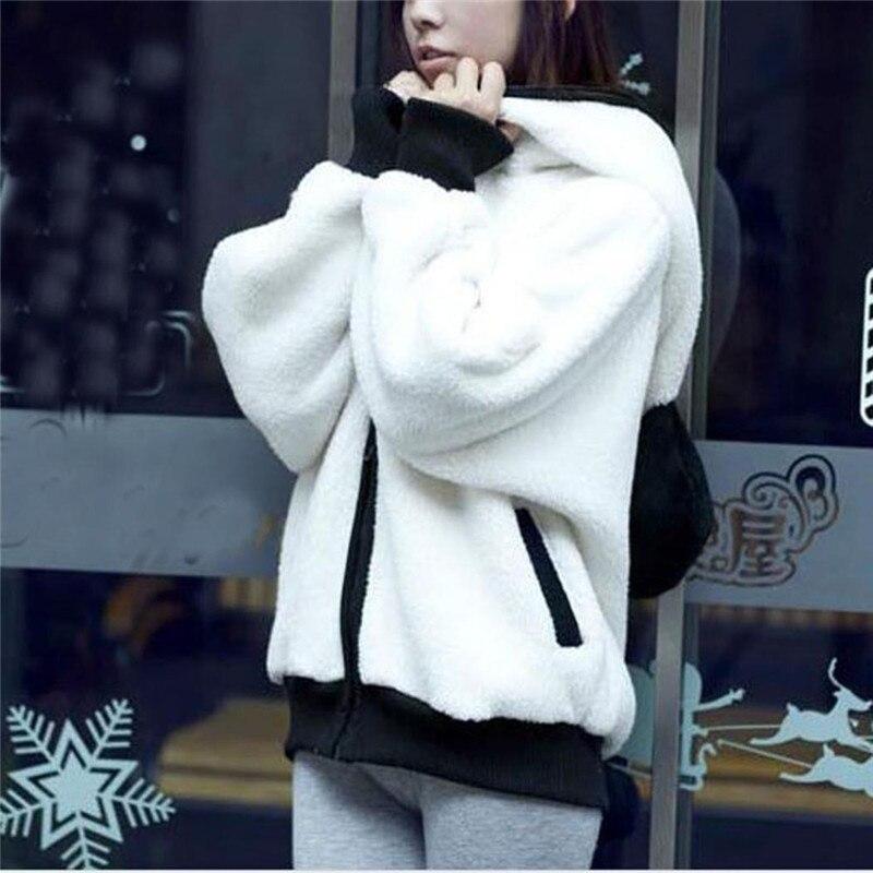 Cute Bear Ear Panda Winter Warm Hoodie Coat Women Hooded Jacket Outerwear Jaqueta Feminina Chamarras De Mujer Chaquetas Capa Z1