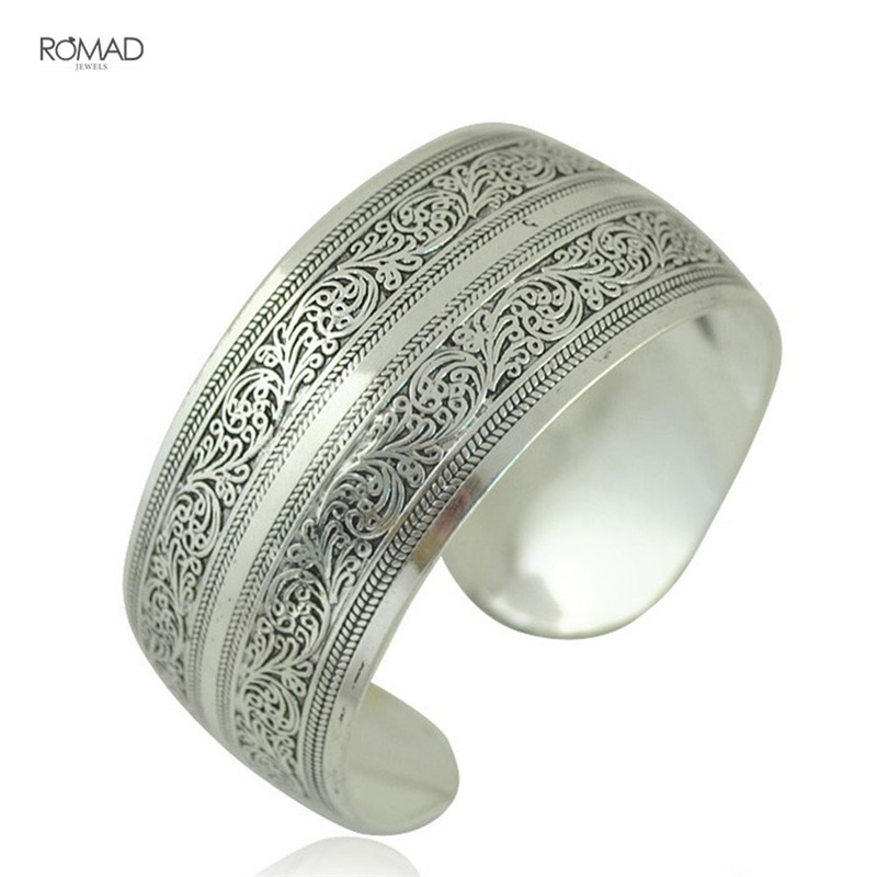 Vintage ethnic Opening boho antic silver cuff bangle bohemia antalya carve pattern Statement bangle for women Jewelry Z4 bangle
