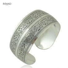 Vintage ethnic apertura boho antic silver cuff bangle bohemia antalya diseño tallado declaración brazalete para mujeres joyería Z4