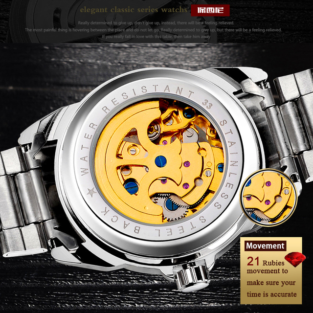 BOSCK Mechanical Watches Men Skeleton Gold Watch Automatic Mechanical Mens Watches Waterproof Self-winding Clock Stainless Steel