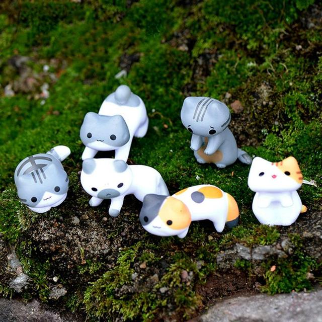 Fantasy Cartoon Cute 6pcs/ set Cat Fairy Garden Decoration Crafts Home Decor Fashion Micro Landscape Miniature Figurines 2