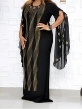 New African Dresses for Women Slim-fit Fishtail Long Shiny Star Hot Drilling Lotus Leaf Sleeve