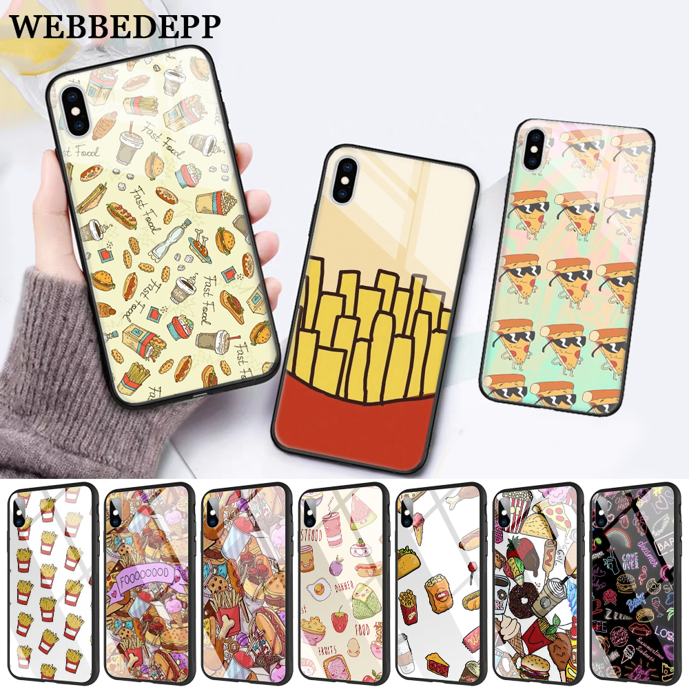 WEBBEDEPP Fast food burger fries Glass Phone Case for Apple iPhone XR X XS Max 6 6S 7 8 Plus 5 5S SE in Fitted Cases from Cellphones Telecommunications