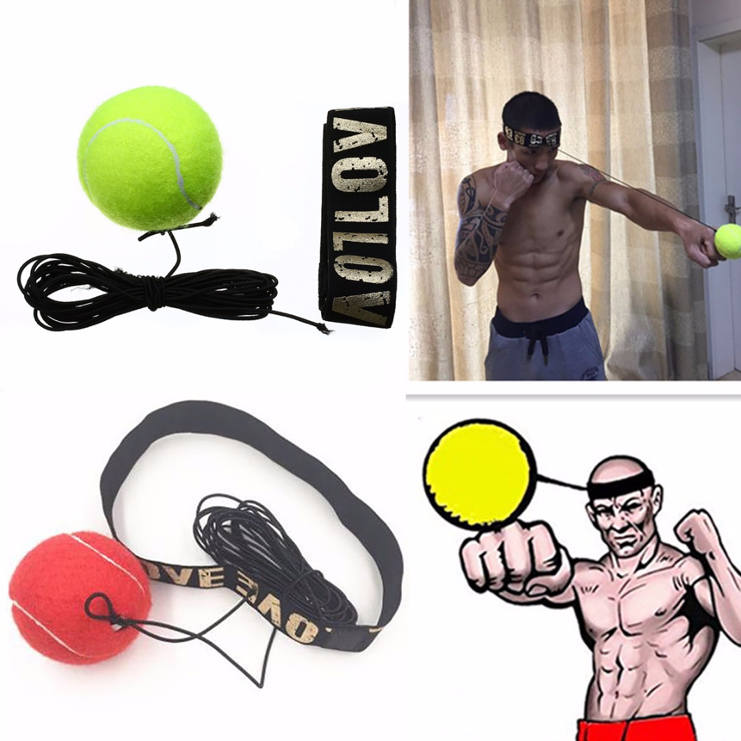 Mayitr New Fight Boxeo Ball Boxing Equipment With Head Band For Reflex Speed Training Boxing Punch Muay Thai Exercise Yellow/Red head speed 25 gr07 234856