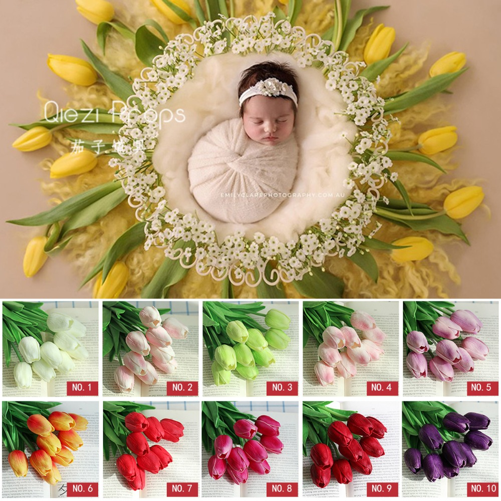 Plastic Tulip Artificial Flowers Baby Photo Shoot For Studio Flokati Newborn Photography Props Basket Accessories ...
