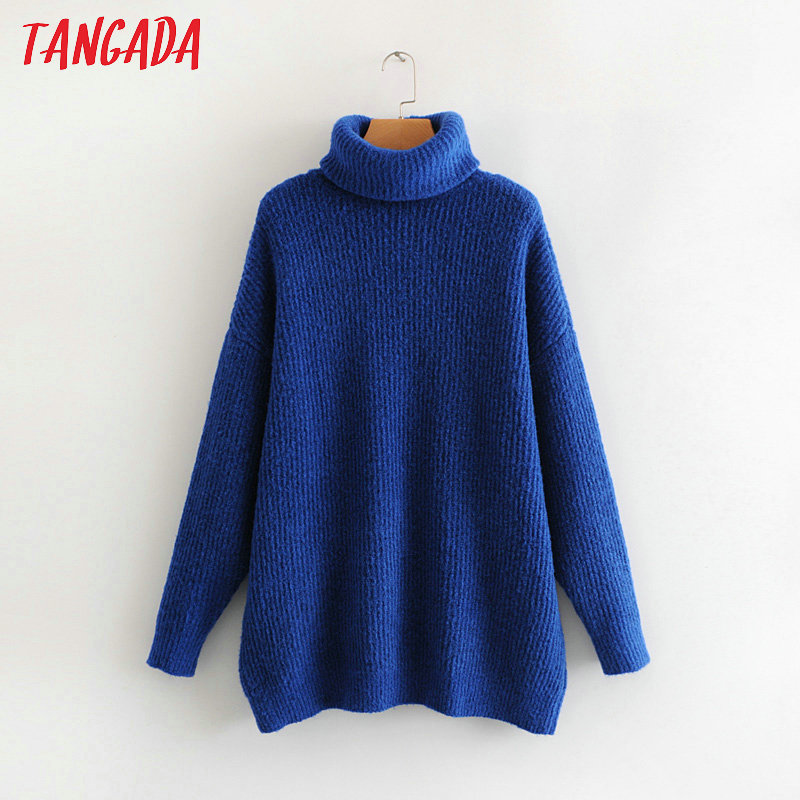 Tangada women jumpers turtleneck sweaters oversize winter fashion 19 long sweater coat batwing sleeve christmas sweate HY135 17