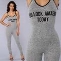 2016 Verão Cinta Bodycon Macacão Macacão Bodysuit Sexy Fato Americano Para As Mulheres