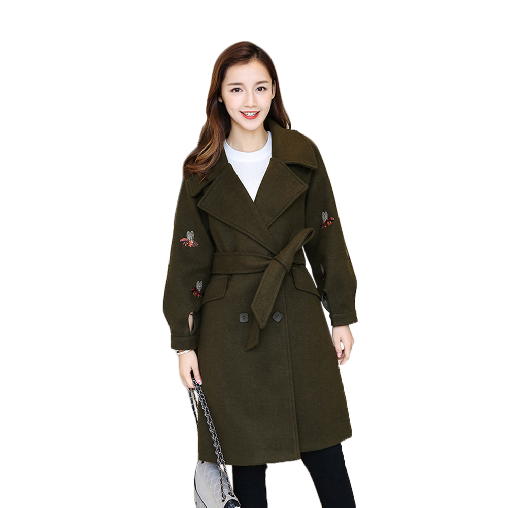 Women Autumn and Winter Korean Lantern Sleeve Embroidery Long Woolen Coat