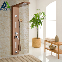 Rose Golden Rainfall Shower Panel Set with Massage System Faucet with Jets with Hand Shower Tower Shower Column
