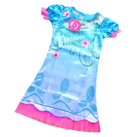2017 New Summer Carnival Costume Trolls Dress For Kids Poppy Lace Dress Baby Girls Moana Clothes