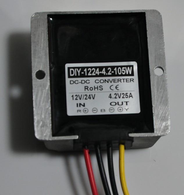 DC DC 12V24V(7-40V) To 4.2V 25A 105W Step Down Converter Buck Module Car Power Converter Adapter Voltage Regulator Waterproof m1201 dc 3 40v to 1 25 35v adjustable step down converter voltage regulator blue
