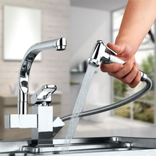 Новый Полированный Хром Латунь Кухня кран двойной handels судно смесителя кран чистой воды