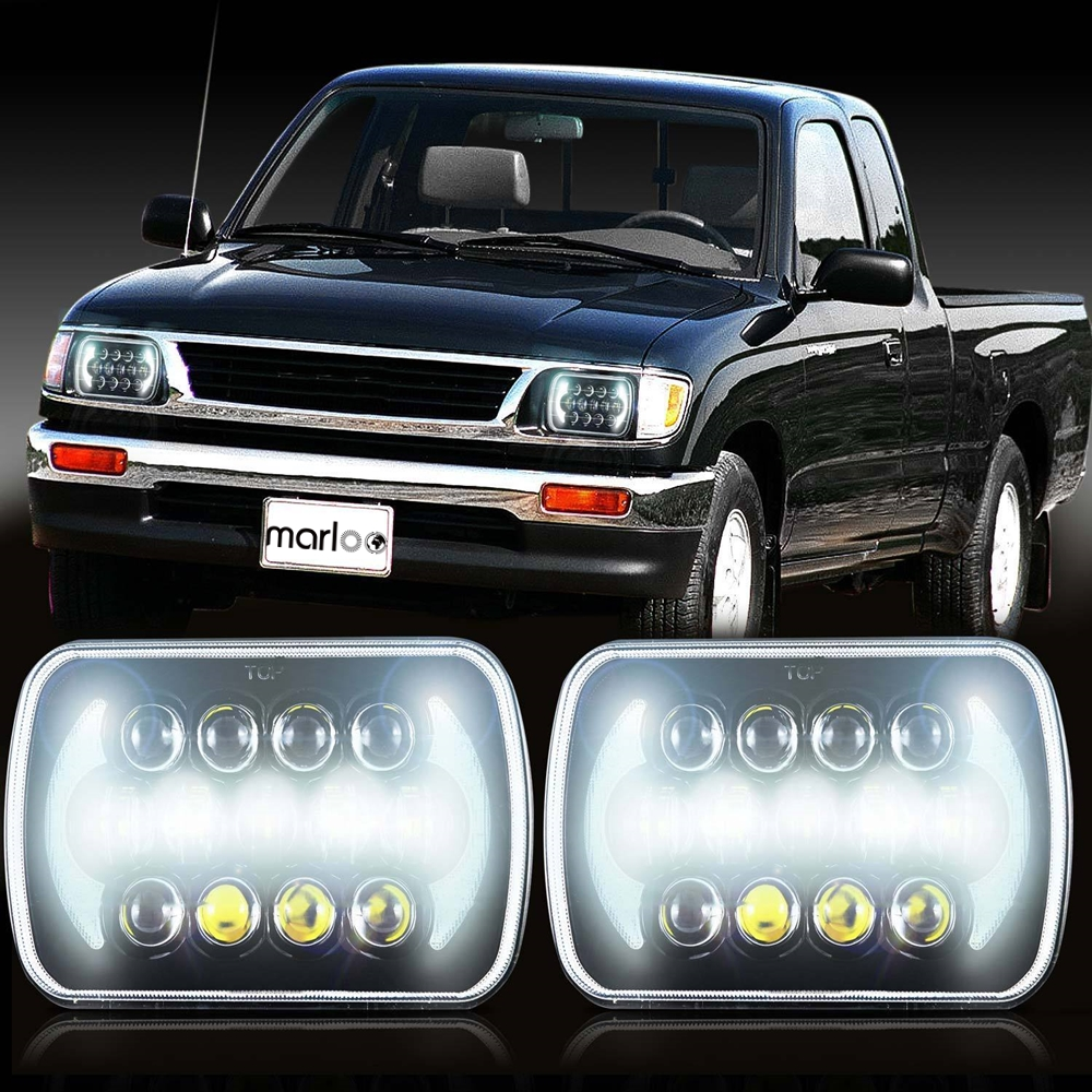 Marloo Projector 7x6 5x7 Led Headlight Replacement For Jeep Cherokee Xj Sealed Beam Drl Toyota