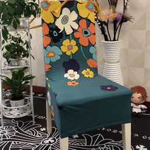 100% polyester fiber Flower Printing Chair Covers Stretch Removable Cover For Weddings Banquet Hotel housse de chaise