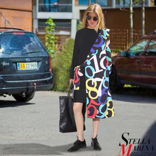 New European Women Spring Black Casual Dress O-Neck Full Sleeve Irregular Sides Fake Print Layer Belt Hip Fashion Vestido 2140