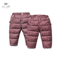 DB2960 dave bella winter baby girls pants baby girls white duck down feather padded trousers girls floral pants
