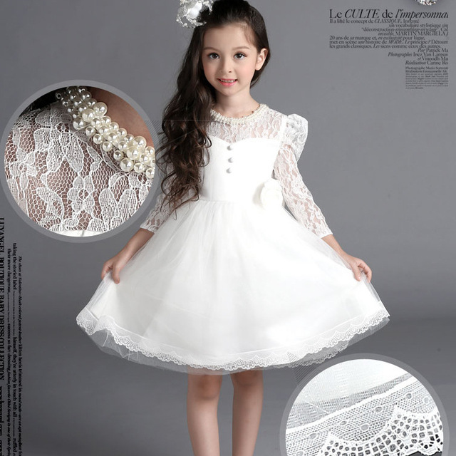 2016 Fall girls Sweet dresses vestido princesa Bowknot white lace party wedding baby girls birthday dress white princess dress
