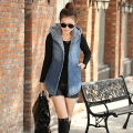 2016 Arrivals  New Autumn Women's Hooded Denim Jacket Vest Wadded Sleeveless Jacket Jeans Waistcoat A760