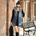 2016 Arrivals  New Autumn Women's Hooded Denim Jacket Vest Wadded Sleeveless Jacket Jeans Waistcoat A760