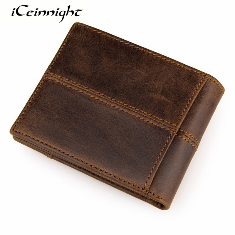 iCeinnight New Arrive Brand Men Genuine Leather Wallet Card Holder Fashion Purse High Quality Business Mini Wallet Free Shipping sc8uu scs8uu 8mm slide unit block bearing steel linear motion ball bearing slide bushing shaft cnc router diy 3d printer parts