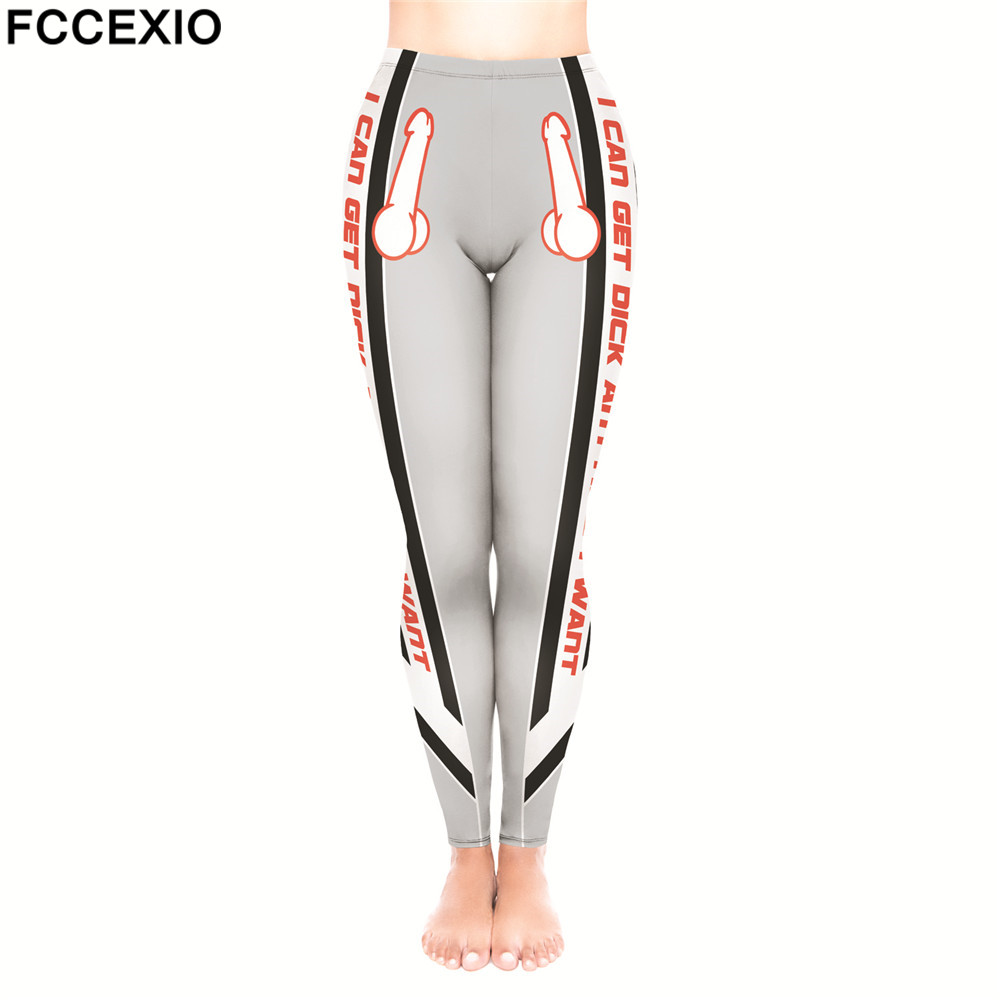 FCCEXIO Women Leggings High Waist Fitness Legging Big Dick 3D Print Leggins Female Pants New Workout Leggings Slim Trousers