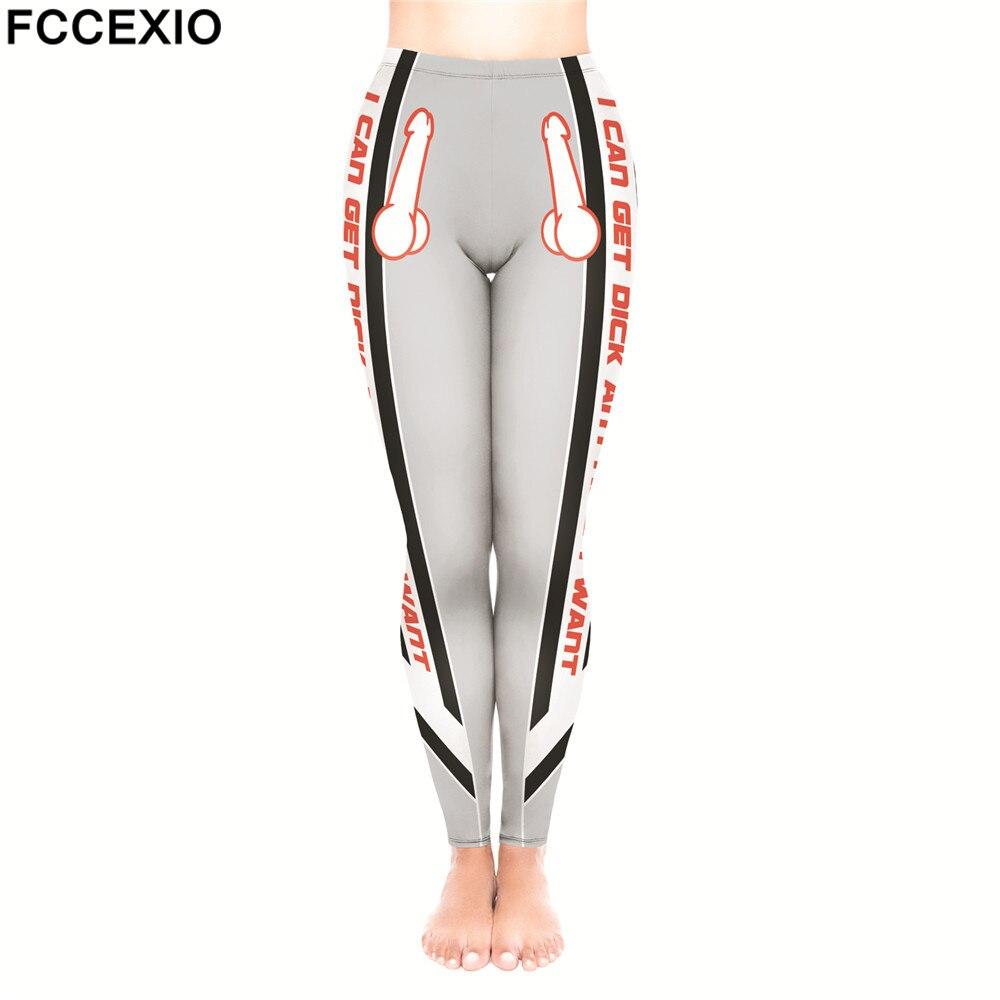 FCCEXIO Women   Leggings   High Waist Fitness   Legging   Big dick 3D Print Leggins Female Pants New Workout   Leggings   Slim Trousers