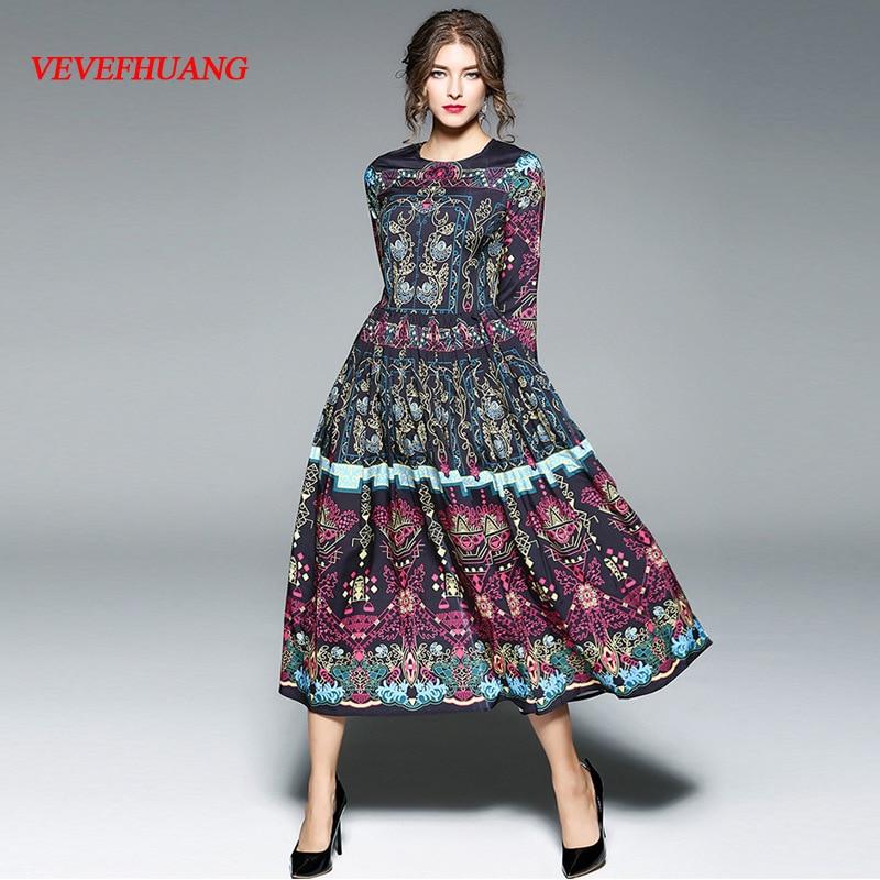 Woman Autumn Printed Dress O-Neck Slim Big Hem Calf-Length Vintage Dress