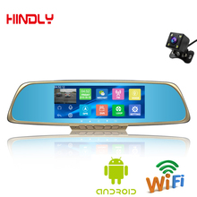 Hot 6.86″Touch screen navigator 1GB and 16GB Android GPS Navigation Mirror Car DVR dual lens camera rear parking WiFi FM