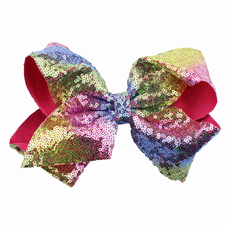 8 inch Jumbo Sequin Rainbow Bow With Hair Clip For Girls Kids Handmade Boutique Knot Jumbo Hair Bow Hairgrips Hair Accessories (7)