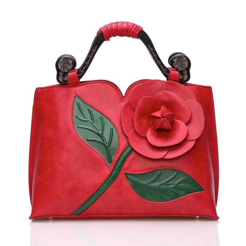 Fleur Grande noir Classique Messenger Bois Rose lightblue Sac Main rouge blanc Nouveaux plumred Sacs À Pink Dimensions En Épaule Trois vert wfw48