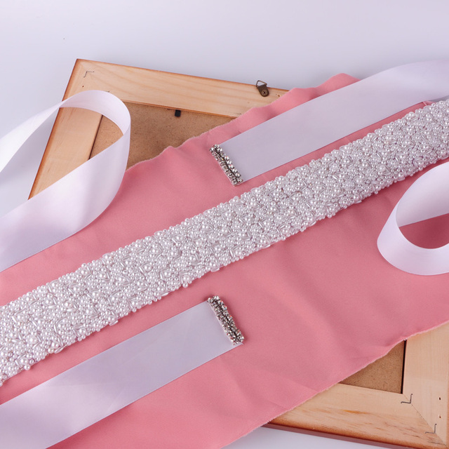 TOPQUEEN S20 designer Beading Pearls Bridesmaid Waistband Wedding Evening Party Prom Dresses Accessories Bridal  Belts Sashes