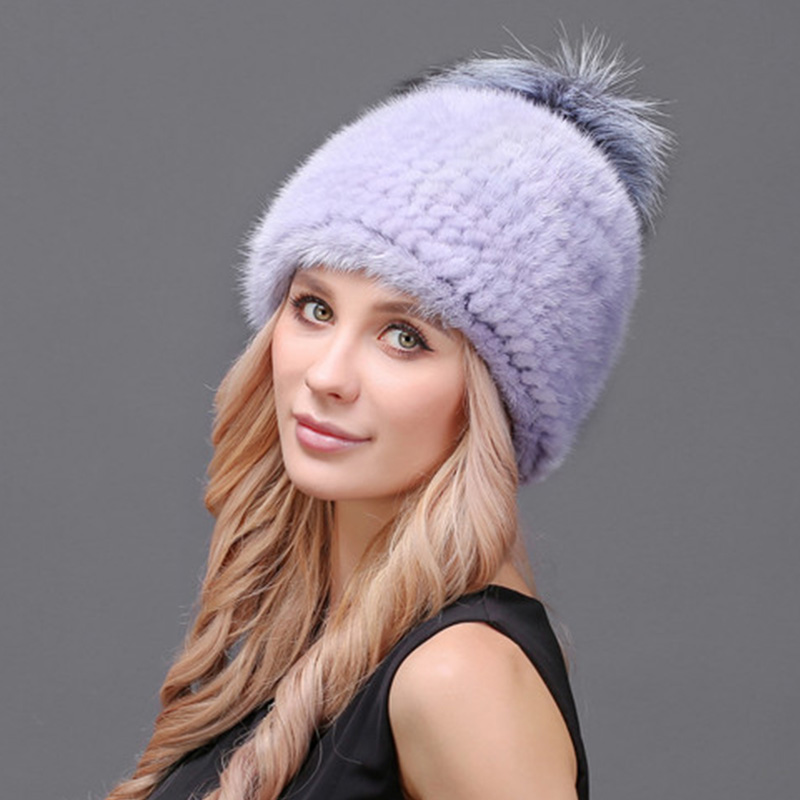 Maylooks Luxury Mink Fur Pom Poms Solid Hats Women HIGH Quality Winter Thick Hat Female Lady Lovely For Women Beanies стоимость
