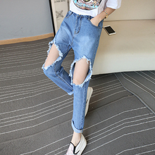 2016 Hot Sale New Cotton Polyester Jeans Woman Spring Summer High Waist Female Slim Denim Pants Big Hole Plus Size Ss0755