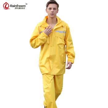Rainfreem nieprzemakalny płaszcz przeciwdeszczowy kobiety mężczyźni kaptur poncho przeciwdeszczowe wodoodporny płaszcz przeciwdeszczowy spodnie garnitur odzież przeciwdeszczowa mężczyźni motocykl sprzęt przeciwdeszczowy tanie i dobre opinie Płaszcze Dorosłych Single-osoby przeciwdeszczowa Poliester Turystyka WOMEN Uniwersalny QFM-MY-88816-Yellow