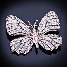 Высокое Качество Модные Горный Хрусталь Бабочка Брошь Контактный Золото Женщины Платье Свадебные Брошь Pin