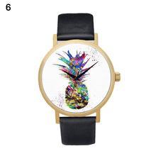 Fashion Pineapple Faux Leather Quartz Wrist Watch Women Bracelet Party Gift faux leather lunar eclipse quartz watch