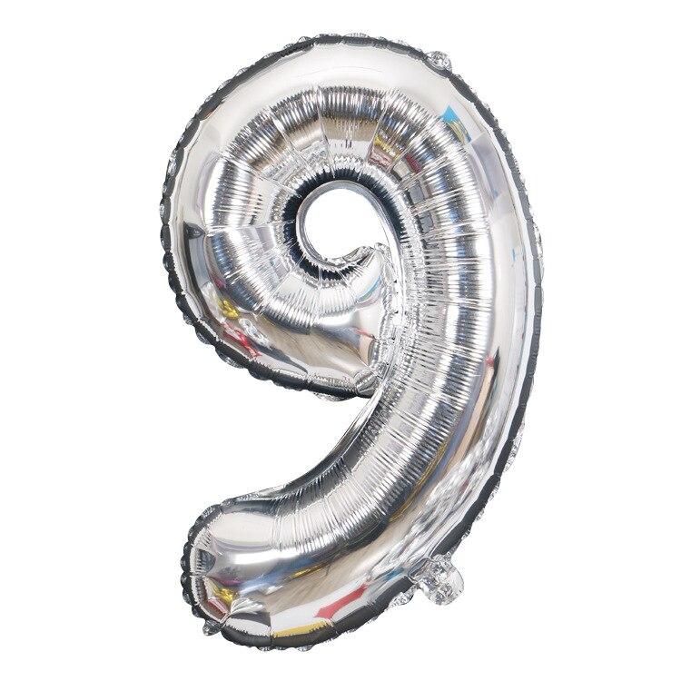 Золотой Серебряный 32 дюйма 0-9 большой гелиевый цифровой воздушный шар фольги Детский праздник день рождения вечеринка для детей мультфильм шляпа игрушки - Цвет: sliver 9