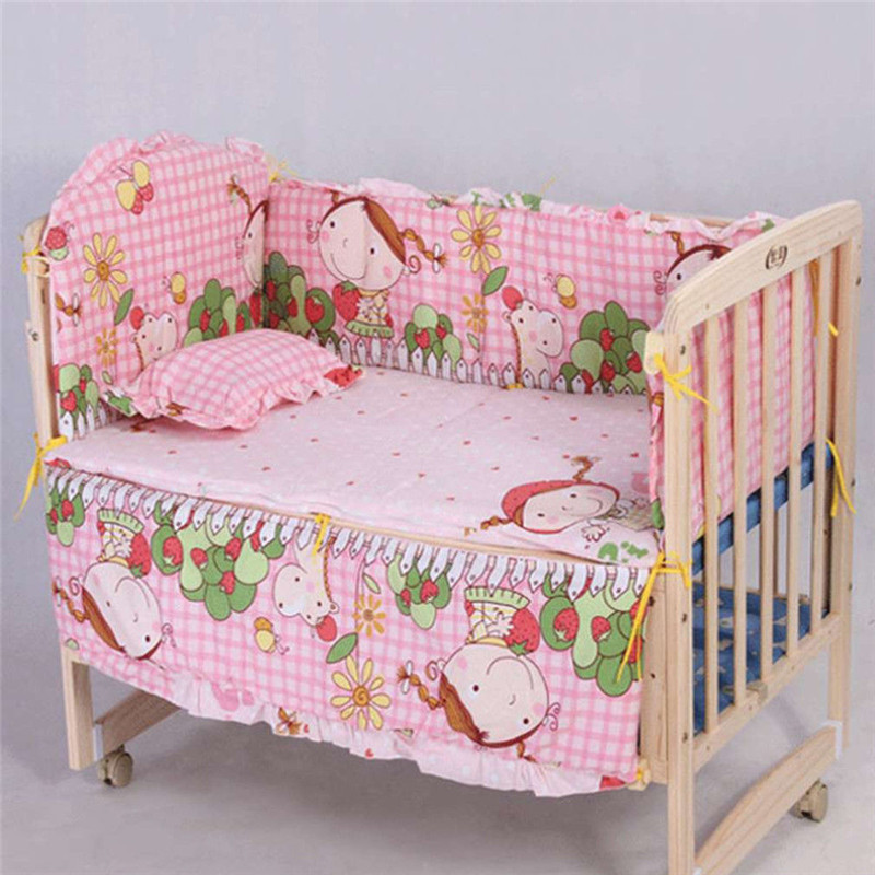 Cute Cotton Baby Children Bedding Set Comfortable Crib Bumper Organizer