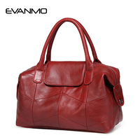 2017 New Women Genuine Leather Boston Bag Europe Style Simple Handbag Fashion Trend Shoulder Bag Cassic