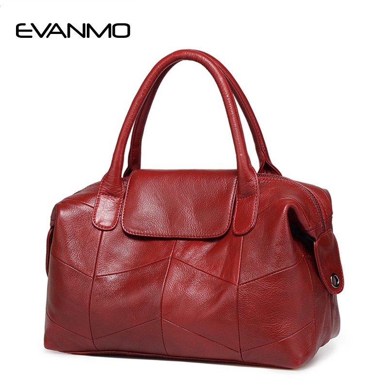 2018 New Women Genuine Leather Boston Bag Europe Style Simple Handbag  Fashion Trend Shoulder Bag office lady Tote handbag bdac1e2646