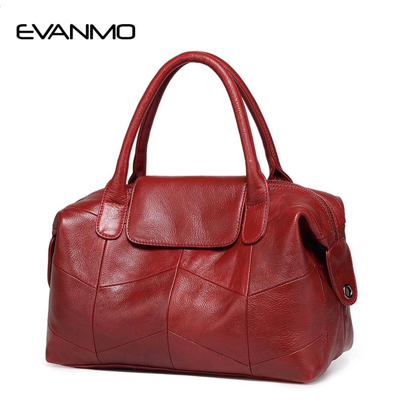 2018 New Women Genuine Leather Boston Bag Europe Style Simple Handbag Fashion Trend Shoulder Bag Office Lady Tote Handbag