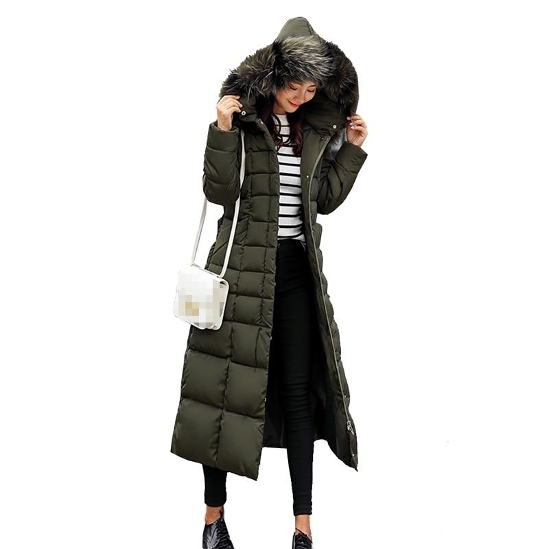 2018 New Korean Super Long Overcoats Ladies Slim Cap Sleeved Warm Cotton Coat Fashion Women Down Parka Women Color Collar Parkas