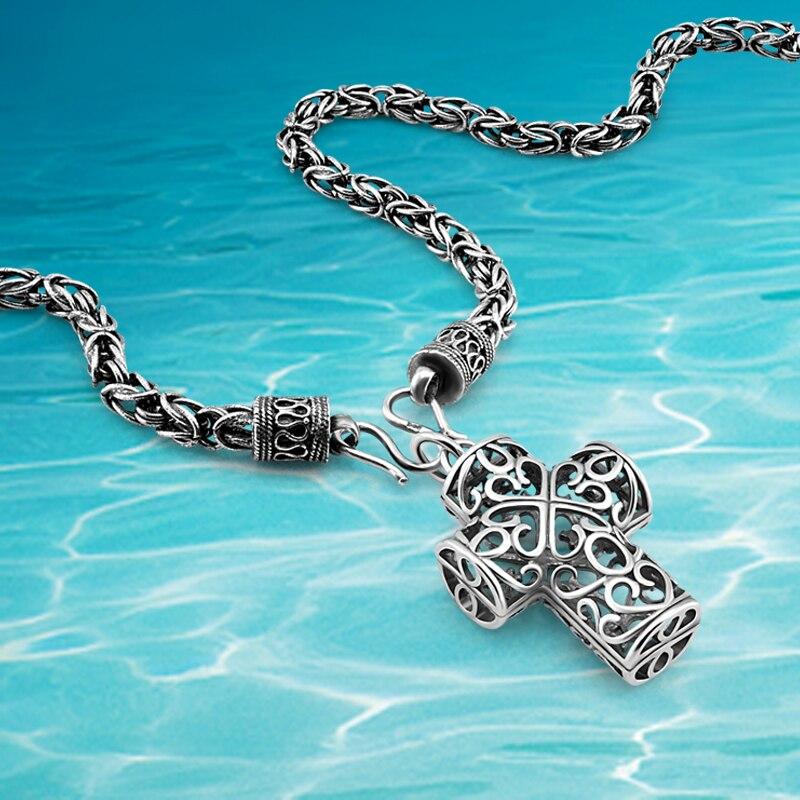 Mode 925 collier en argent sterling, croix pendentif collier, large 6mm hommes collier personnalité cool hommes bijoux