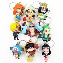 new 2015 hot sale one piece keychain 1set/9pcs 5-6cm pvc action figure keychain accessories toys pirate decoration Free shipping
