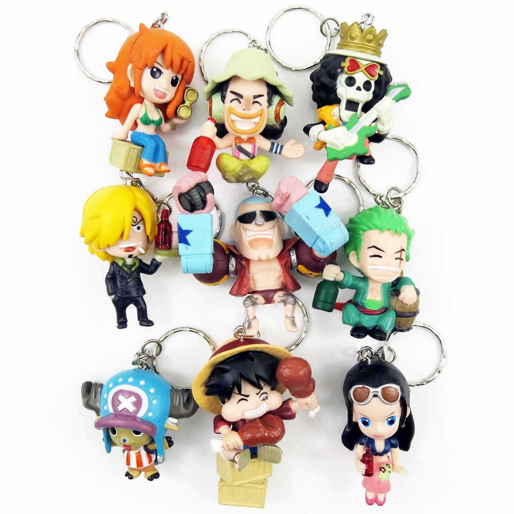 new 2015 hot sale one piece keychain 1set/9pcs 5-6cm pvc action figure keychain accessories toys pirate decoration Free shipping image