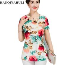 Women T Shirt 2018 Plus Size tshirt 4XL Print Short Sleeve Milk Silk T-Shirt Fashion Middle Age Mother Clothing Vestidos