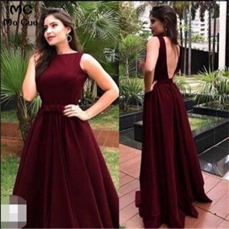 2019 Ready Ship Burgundy Evening Dresses With Sashes Backless Women's Evening Dresses Satin Grape Prom Dress Custom Made
